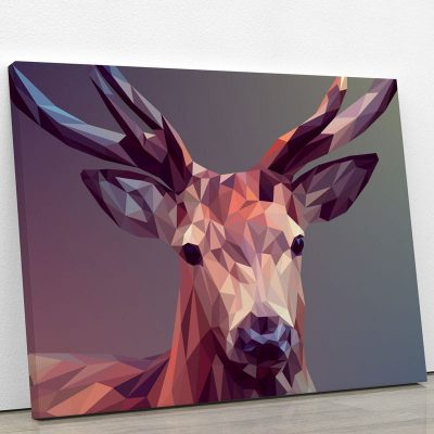 tableau cerf design colore