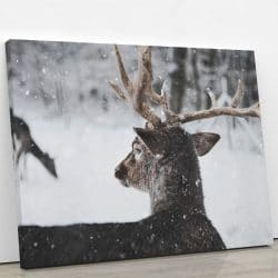 tableau cerf neige deco