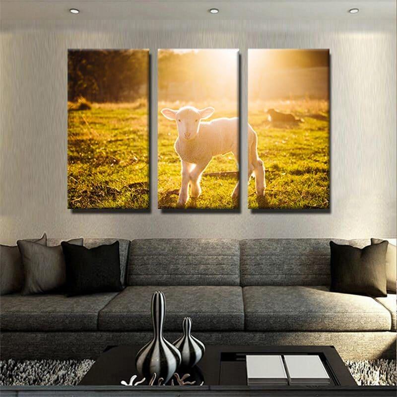 tableau-agneau-mouton-tableau-animaux-decoration-murale-tableau-3-parties-artetdeco