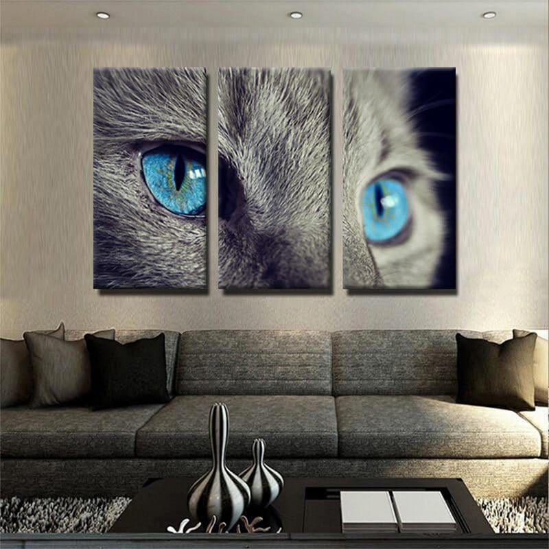 tableau-chat-gris-yeux-bleus-3-parties