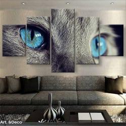 tableau-chat-gris-yeux-bleus-5-parties