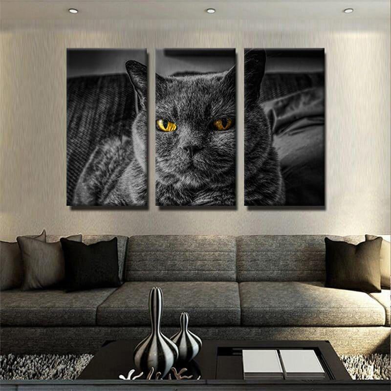 tableau chat noir 3 parties