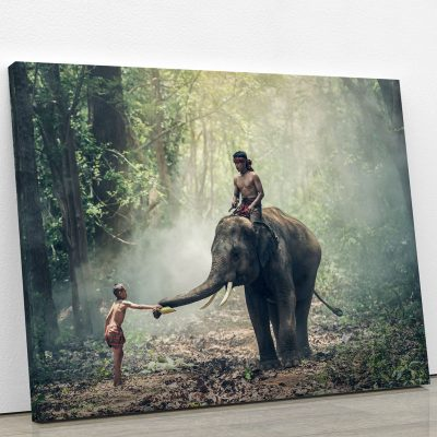 tableau-elephant-foret-elephanteau-decoration-animaux-tableau-murale-artetdeco