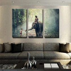 tableau-elephant-foret-elephanteau-decoration-animaux-tableau-murale-tableau-3-parties-artetdeco