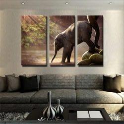 tableau-elephanteau-elephant-petit-elephant-decoration-murale-animaux-tableau-3-parties-tryptique-artetdeco