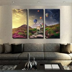 tableau-cerf-colore-moderne-design-3-parties