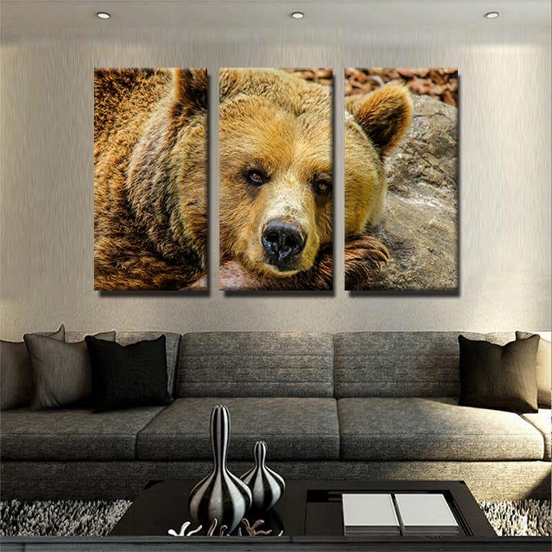 tableau poster ours triptyque decoration murale