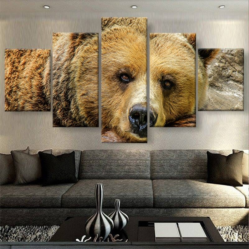 tableau poster ours 5 parties deco murale