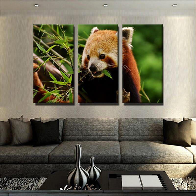 tableau poster panda roux 3 parties