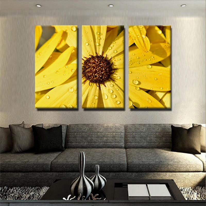 Tableau marguerite jaune 1 tableau 3 parties marguetire fleurs tableau cuisine