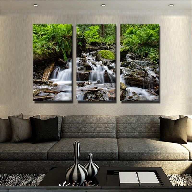 tableau-cascade-riviere-foret-nature-tableau-deco-tableau-3-parties-tableau-3-formats-artetdeco