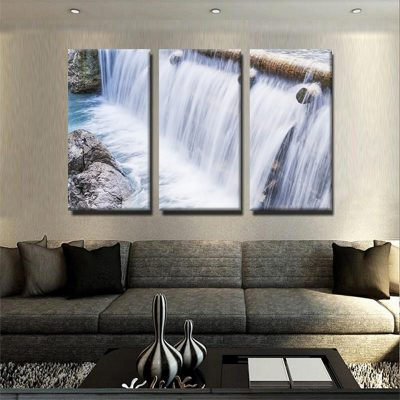 tableau-cascade-riviere-nature-rocher-deco-murale-tableau-3-parties-artetdeco