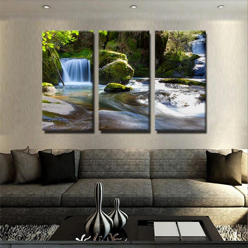 tableau-courant-deau-cascade-eau-foret-riviere-decoration-murale-deco-murale-tableau-3-parties-poster-3-formats-artetdeco