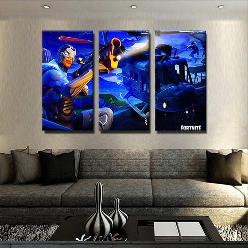 tableau fortnite 3 parties decoration murale chambre geek