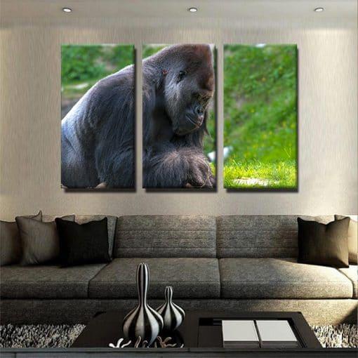 Tableau gorille couleur 1 tableau gorille singe animaux toile 3 parties deco murale artetdeco