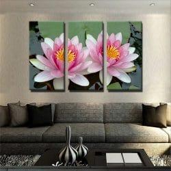 tableau-lotus-rose-et-nenuphare-tableau-florale-decoration-murale-tableau-3-parties-artetdeco
