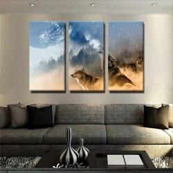 Tableau loup design 2 tableau loup animaux 3 parties decoration murale artetdeco