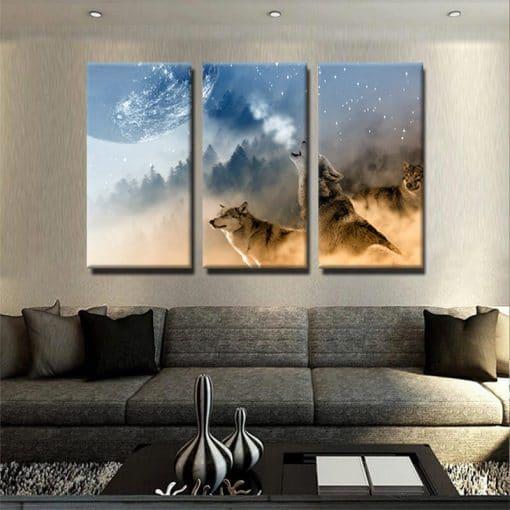 Tableau loup design 1 tableau loup animaux 3 parties decoration murale artetdeco