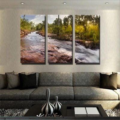 tableau-nature-et-riviere-tableau-grand-format-xxl-tableau-3-parties-artetdeco