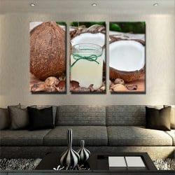 tableau-noix-de-coco-decoration-murale-tropical-tableau-3-parties-artetdeco