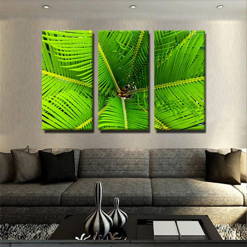 tableau-plam-vert-decoration-tropical-murale-tableau-deco-3-parties-artetdeco