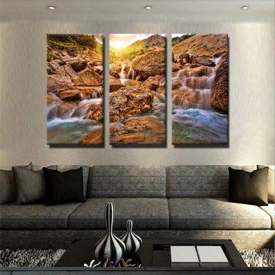 tableau-riviere-cascade-montagne-decoration-nature-tableau-grand-format-xxl-tableau-3-parties-3-formats-artetdeco