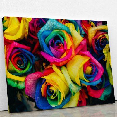 tableau-rose-multicolor-decoration-florale-fleur-tableau-et-poster-artetdeco