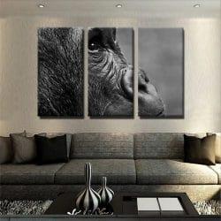 boutique tableaux et posters décoration acceuil 1 tableau singe noir et blanc animaux toile 3 parties decoration murale artetdeco