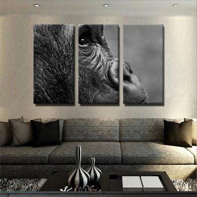 Tableau gorille noir et blanc 2 tableau singe noir et blanc animaux toile 3 parties decoration murale artetdeco