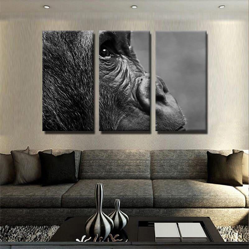 Tableau gorille noir et blanc 1 tableau singe noir et blanc animaux toile 3 parties decoration murale artetdeco