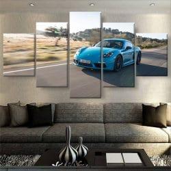 tableau-Porsche-718-Cayman-bleu-deco-murale-decoration-voiture-automobile-