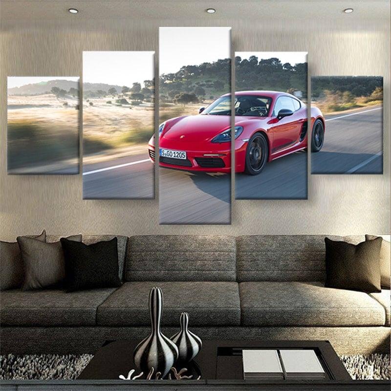 tableau-Porsche-718-Cayman-rouge-poster-decoration-automobile-voiture-deco-murale