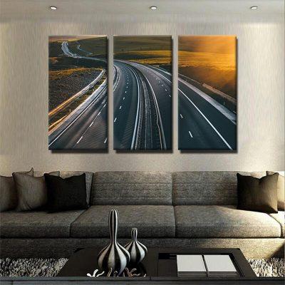 tableau-couche-de-soleil-et-autoroute-decoration-murale-tableau-3-formats-3-parties-artetdeco