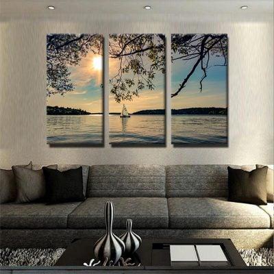 tableau-couche-de-soleil-lac-nature-poster-decoration-murale-tableau-3-parties-artetdeco