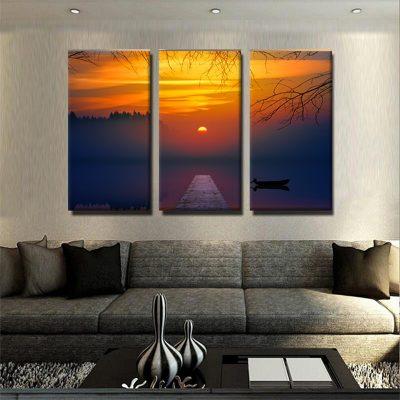 tableau-coucher-de-soleil-et-ponton-pont-deco-murale-tableau-3-formats-3-parties-artetdeco