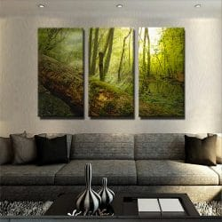 tableau-foret-bois-soleil-nature-deco-murale-tableau-3-parties-3-formats-artetdeco