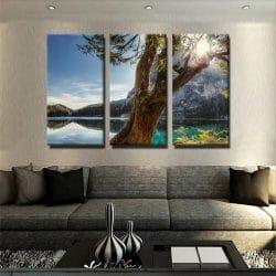 tableau-foret-et-lac-et-montagne-decoration-murale-tableau-3-parties-tableau-plusieurs-partie-
