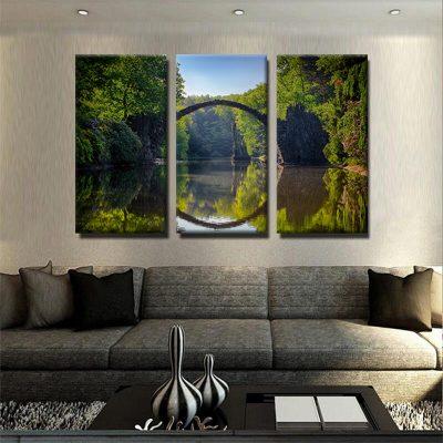 tableau-foret-et-pont-et-nature-et-riviere-deco-murale-decoration-maison-tableau-3-parties-tableau-plusieurs-parties-