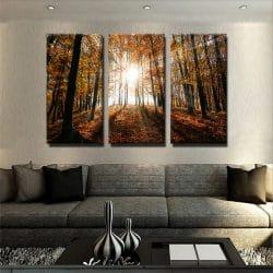 tableau-foret-feuille-rouge-soleil-nature-deco-murale-decoration-maison-tableau-3-parties-tableau-plusieurs-parties-