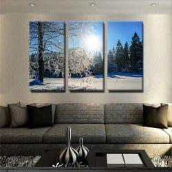 tableau-foret-neige-hiver-deco-murale-decoration-murale-poster-tableau-3-parties-tableau-plusieurs-parties-tableau-multi-panneaux-