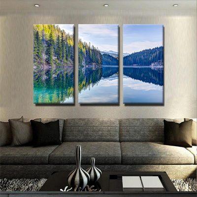 tableau-lac-montagne-et-foret-decoration-murale-nature-tableau-xxl-grand-format-tableau-3-parties-tryptique-artetdeco