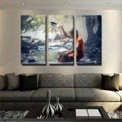 tableau-moine-bouddhiste-bouddha-decoration-murale-tableau-3-parties-plusieurs-parties-