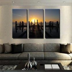 tableau-ponton-et-couche-de-soleil-tableau-nature-grand-format-xxl-tableau-3-parties-3-formats-artetdeco