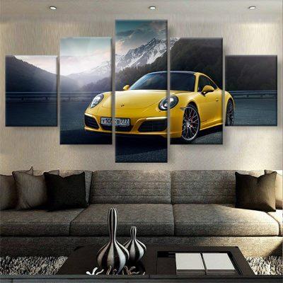 tableau-porsche-918-jaune-poster-automobile-voiture-deco-murale