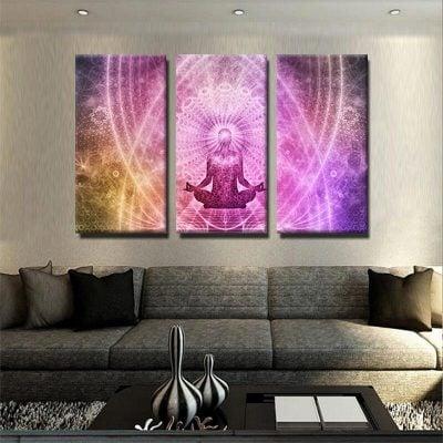 tableau-zen-bouddha-meditation-colore-decoretion-murale-tableau-deco-tableau-3-parties-plusieurs-partie-multi-panneau