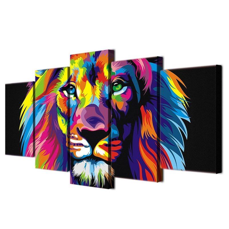 tableau lion coloré decoration murale animaux