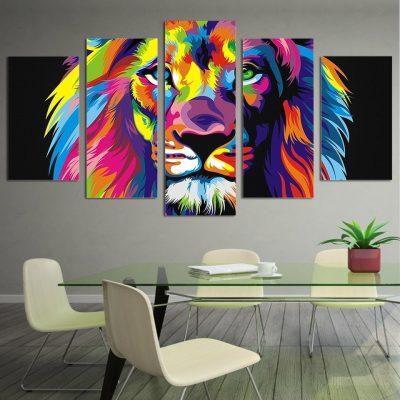tableau sur toile lion coloré
