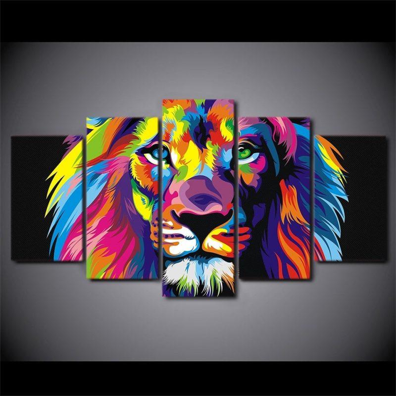 cadre lion coloré