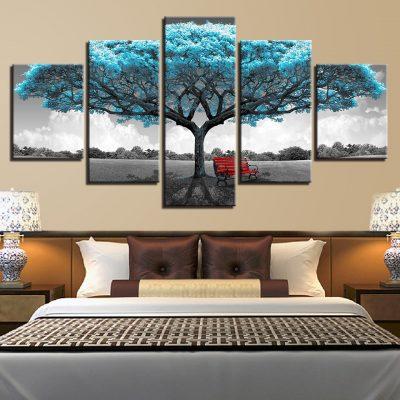 tableau arbre de vie bleu