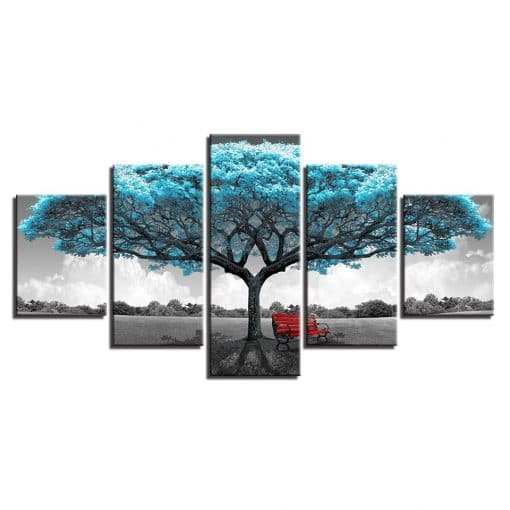 tableau cadre arbre bleu